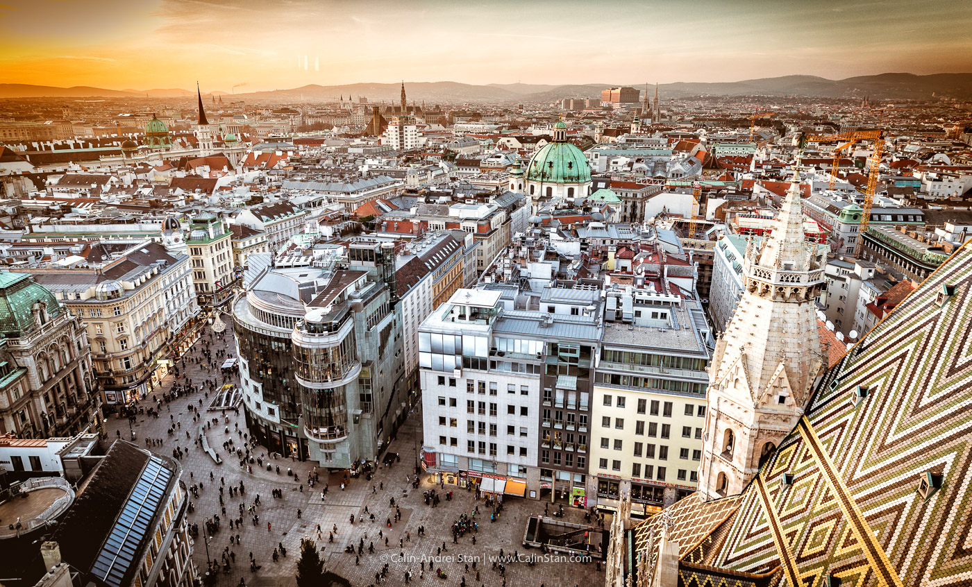Vedere de sus din Domul St. Stephan asupra Vienei. Credit foto: CalinStan.com